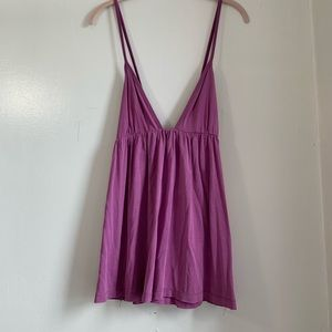 Free People Magenta Tank with Criss Cross Back